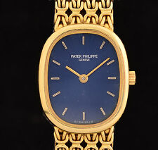 Excellent Ladies Patek Philippe Ellipse 18K Yellow Gold with Blue Dial Ref: 4814