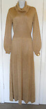 vintage Wenjilli gold metallic knit maxi sweater dress cowl neck sz M GORGEOUS