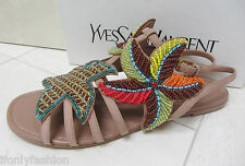 NIB YSL Yves Saint Laurent FLOWER STARFISH 05 BEADED flat strap sandals shoes 39