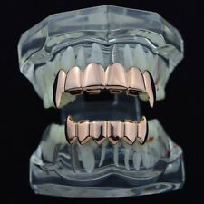 14k Rose Gold Plated Full Fang Grillz Set Top Bottom Fangs Vampire Teeth Grills