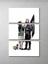 Banksy Anarchist and Mother Stretched Canvas Triptych Print. BONUS BANKSY DECAL!