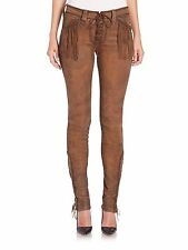 $1,195+Tax POLO RALPH LAUREN ~Lambskin Surfed Leather~ Skinny Fringed Pant Sz 2