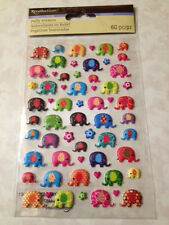 Recollections Dimensional Stickers 3D EPOXY MULTI-COLORED MINI ELEPHANTS FLOWERS