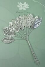 SILVER Metallic LEAVES 18x33mm x 1 2Leaves with Wire Stems Green Tara