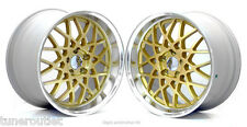 "RC1 ROTIFORM BBS 18"" 8.5 + 9.5J STAGGERED ET45 5X114.3 GOLD ALLOY WHEELS Y2867"
