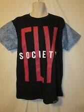mens fly society t-shirt L nwt black with blue poly sleeves