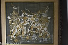 India / Tibet Painting Print Elephant War Battle Gold White Black Framed Art