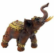 "Indian Lucky Elephant Wood Look Statue Figurine 5"" Hindu Ganesha Home Gift"