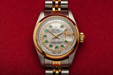 Estate $10,000 Emerald Diamond MOP 18k Gold SS ROLEX Datejust Ladies Watch QS