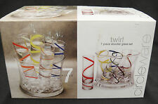Twirl Circleware 7 Piece Shooter Glass Set Multi Color Swirls Ice Bucket NIB