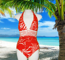 NEW GIDEON OBERSON BY GOTTEX  red white Low V-NECK HALTER 1 Pc SWIMSUIT Size 8