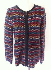 COLDWATER CREEK Womens Rainbow Multi Color Zip Front Cardigan Knit Sweater Sz S