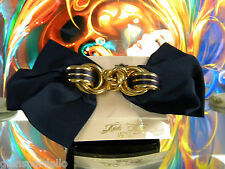 Kirks Folly Barrette LARGE NAVY & GOLD BRIDAL COMMUNION  BOW RB5  usa made