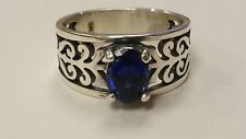 James Avery Adoree Swirl Ring Sterling Silver w/ Lab Created Blue Sapphire Sz 8