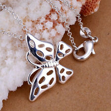 925 Sterling Silver Plated Butterfly Pendant and Necklace 46cm/18 Inch Chain