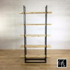Shelving Bookcase Industrial Metal Asha Reclaimed Office Unit Shelf Vintage Pine