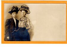 Real Photo Postcard RPPC - Two Women in Large Floral Hat