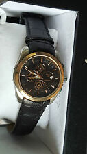Tissot Chronograph Black Dial Gold Color Rim Leather Strap Mens Wrist Watch