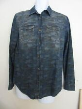 MENS RIVER ISLAND DENIM LONG SLEEVED SHIRT SIZE M BLUE