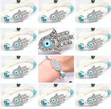 Wholesale LOT Of 12 Cyan God Fatima Hamsa Evil Eye Macrame Amulet Charm Bracelet