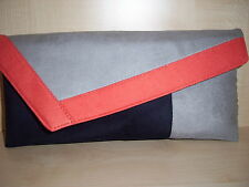 BURNT ORANGE, GREY & NAVY BLUE faux suede clutch bag, lined handmade in the UK.