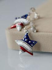 Boucles d`Oreilles Clips Argenté Etoile Drapeau Américain Bleu Blanc Rouge B8
