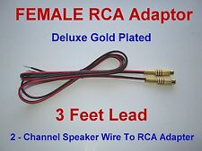 2 Channel Speaker Wire RCA Adapter Amp Receiver Powered Speakers GOLD FEMALE 3ft