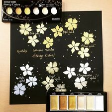"Kuretake Gansai ""Starry Colors"" 6 Shimmering Shades of Gold"
