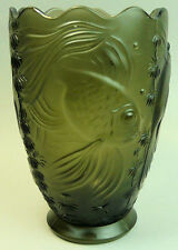 BAROLAC BOHEMIAN ART DECO FISH DESIGN GLASS VASE 1930's