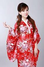 Japanese kimono Yukata Geisha best dress women gown Haori  Floral with Obi red