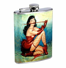 Flask 8oz Stainless Steel Classic Vintage Model Pin Up Girl D 3 Whiskey