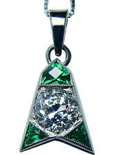 Antique ART DECO .70ct Old European Diamond Emerald 14K White Gold Pendant