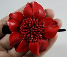 1 Pc. Flower Hairpin Hair Clip Handcraft Genuine Leather Floral Handmade Charm