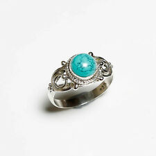 925 SOLID STERLING SILVER NATURAL TURQUOISE GEMSTONE RING 6 US