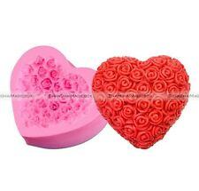 Soap Mold Rose Flower Heart Flexible Silicone Mould For Resin Candy Candle Craft