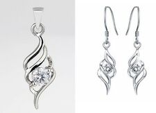 Silver Winsome Clear Pendant Swirl 925 Chain Necklace 9k Gold Filled Earring Set