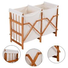 Household Folding Bamboo Frame Laundry Hamper Clothes Storage Basket Bin W/2 Bag