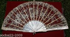 Antique Important Sticks Mother Of Pearl And Lace Hand Fan 12.59 Inches