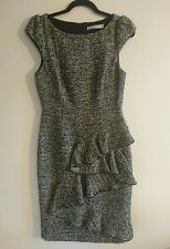 Karen Millen Wool Blend Brown & Black Tweed Frill Dress Size 10