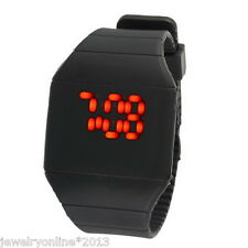 Neu Damen Herren Trend Schwarz LED Armbanduhr Digitaluhr Touchscreen Silikonband
