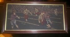 Vintage embroidered & framed American Football Embroidery Wall Decor 7x12