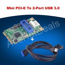 Mini PCI-Express to USB 3.0 20pin Header Card w/ USB Dual Female to 20Pin Cable