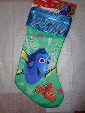 """Disney Finding Rory  Nemo Christmas Jersey Stocking w/Sequins Cuff.  16"""""""