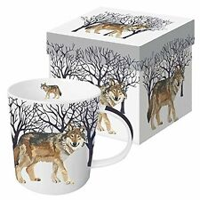 Paperproducts Design Gift Boxed Porcelain Mug 13.5 oz Winter Woods Wolf M... New