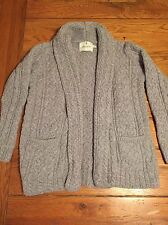 EUC Standun Irish Cable Knit Wool Sweater Shawl Cardigan Gray Aran Women's Small