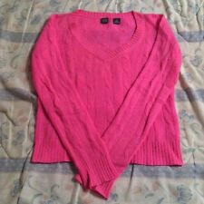 100% CASHMERE SAKS FIFTH AVENUE LONG SLEEVE VNECK CABLE KNIT NEON PINK SWEATER S