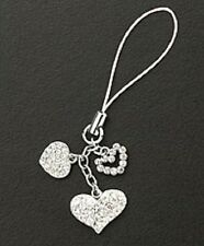 New Silver Dangle Crystal Hearts Cell Phone Charm Valentines Day Free Shipping