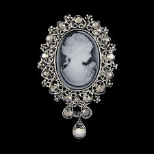New Cameo VICTORIAN STYLE crystal Bouquet Wedding party women pendant brooch pin
