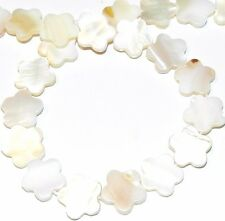 """MP966f Natural White Mother of Pearl Shell 15mm Flower Gemstone Beads 15"""""""