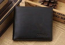 RFID Blocking Dark BROWN Leather Bifold Wallet Contactless Card Protection UK5
